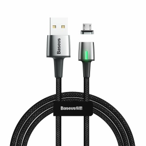 BASEUS 2M 1.5A Micro Zinc Magnetic USB Cable for Samsung Galaxy Tab A 8 (2019) etc. - Black