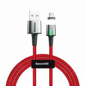 BASEUS 2A Fast Charge Magnetic Nylon Braided Type-C Cable Data Sync 2m - Red