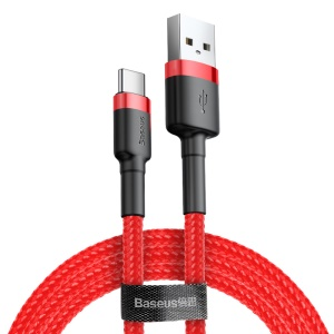 BASEUS KLF Series USB For Type-C 2A 3m Charging Cable - Black Red/Red Line
