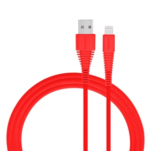 MOMAX MFI 1.2M Woven 2.4A Lightning 8pin Data Sync USB Charge Cable for iPhone iPad iPod - Red