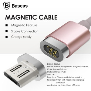 BASEUS 1M 2.4A Micro USB Magnetic Charging Cable for Samsung S7 etc. - Rose Gold