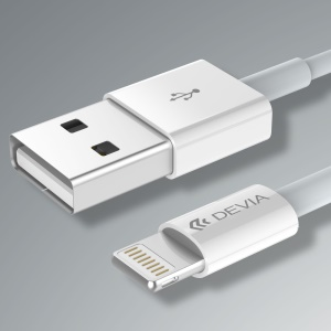 DEVIA MFI Certified 1m 2.4A Lightning 8Pin Mobile Data Charging Cable - White