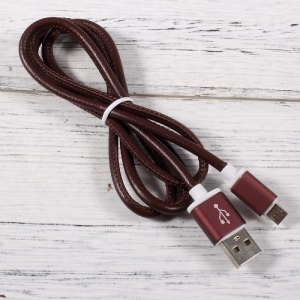 PINZUN 2A Leather Coated Micro USB Charging Data Cable for Samsung HTC LG Huawei - Coffee