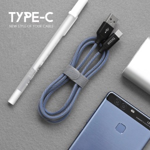 BCASE Woven Pattern Type-C USB Data Sync Charging Cable for Samsung HTC Huawei - Blue