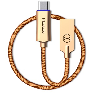MCDODO KNIGHTS Series Auto Disconnect Quick Charge 3.0 Type-C Data Cable (1m) - Gold Color