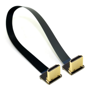 0.2M Dual 90 Degree Down Angled HDMI Type A Male to Male HDTV FPC Flat Cable for FPV HDTV Multicopter Aerial Photography