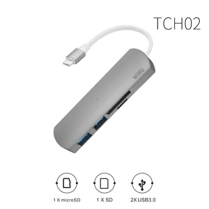 WIWU T2 Type-C to 2*USB 3.0 + MicroSD / SD Card Reader USB Hub for MacBook Pro - Grey