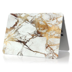 Marble Pattern Hard Plastic Cover for Apple MacBook 12-inch - Gold Color / Grey