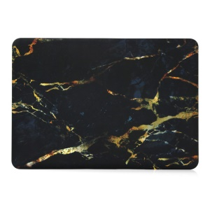 Marble Pattern Hard Snap-on Cover for Macbook Air 13.3 Inch - Yellow / Black