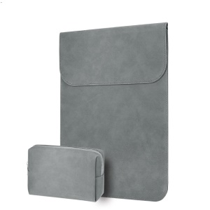 CARTINOE 13.3-inch Ultra-thin Matte PU Leather Laptop Sleeve Bag Pouch Case, Size: 265 x 360mm - Grey