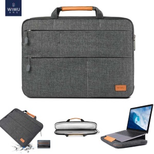 WIWU Waterproof Shockproof Nylon Sleeve Pouch Handbag with Stand Function for 13.3/14 inch Laptops/Tablets - Grey