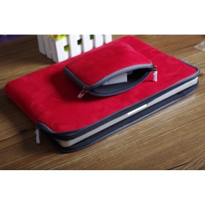 PU Leather Laptop Sleeve Case Bag for 12 inch Macbook - Red