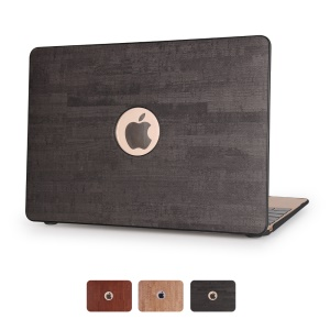 Wood Grain Leather Skin Hard Case for MacBook Pro 13.3 Inch - Black