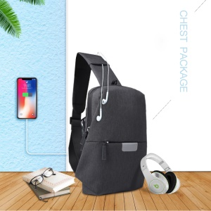 WIWU Cross Body Bag Chest Package Casual Single Shoulder Bag with USB Charging Port - Black