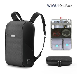 WIWU OnePack BackPack Laptop Business Travel Shoulder Bag with USB Charging Port - Black