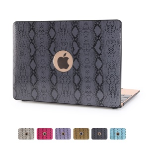 For Macbook Air 13.3 inch Snake Texture PU Leather Skin Front + Back Hard Case  - Black