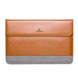 LENTION Slim Leather Sleeve Bag for MacBook Pro 15.4 inch with Retina Display - Brown / Grey