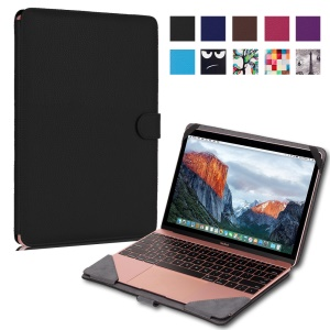 PU Leather Folio Case Cover for MacBook 12-inch with Retina Display(2015) - Black