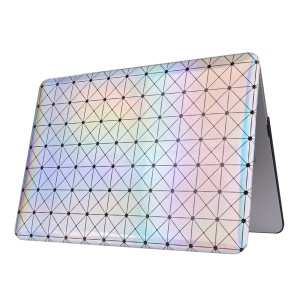Gradient Rhombus Leather Skin PC Hard Case for MacBook Air 13.3-inch - Silver