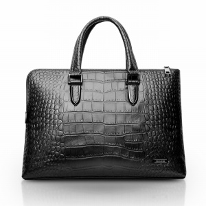 QIALINO Handmade Crocodile Cowhide Leather Laptop Bag Briefcase for MacBook Pro 15.4 Inch - Black