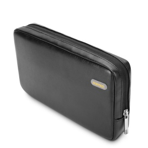 POFOKO Martin Series PU Leather Storage Pouch for Tablet/Hard Disk/Mouse etc - Black / L Size
