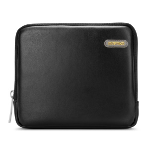 POFOKO Martin Series PU Leather Storage Bag for Phone/Power Bank/Charger etc - Black / M Size