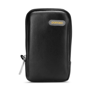 POFOKO Martin Series PU Leather Storage Bag for Phone/Camera/Cable etc - Black / S Size