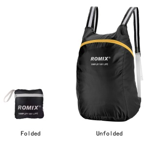 ROMIX Ultralight Waterproof Folding Backpack 18L Shoulder Bag for Outdoor Travel - Black