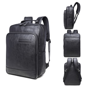 EXTEAM B9632 PU Leather Laptop Backpack Travel Shoulder Bag - Black