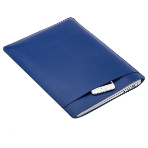 SOYAN Sleeve Pouch Dual-layer Leather Cover for MacBook Pro 15.4 Inch - Dark Blue