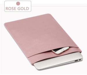 SOYAN Crazy Horse Leather Sleeve Pouch Dual-layer for 13-inch MacBook Air/Pro - Rose Gold