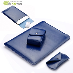 SOYAN Leather Pouch Sleeve with Mouse Pad + Power Supply Bag + Mouse Cover + Bobbin Winder for Macbook Air 11.6-inch - Blue