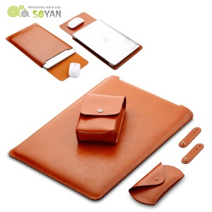 SOYAN Leather Case with Mouse Pad + Power Supply Pouch + Mouse Cover + Bobbin Winder for Macbook Air 11.6-inch - Brown