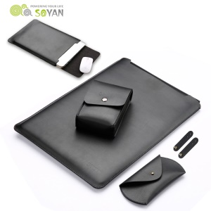 SOYAN Leather Sleeve with Mouse Pad + Power Supply Bag + Mouse Cover + Bobbin Winder for Macbook Air 13.3 Inch / Pro 13.3 Inch - Black