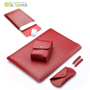 SOYAN Leather Sleeve Cover with Mouse Pad + Power Supply Bag + Mouse Cover + Bobbin Winder for Macbook Air 13.3 Inch / Pro 13.3 Inch - Wine Red