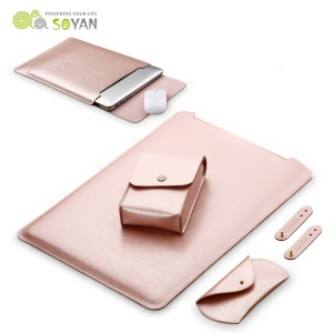 SOYAN Leather Pouch Case with Mouse Pad + Power Supply Bag + Mouse Cover + Bobbin Winder for MacBook 12-inch with Retina Display(2015) - Rose Gold Color