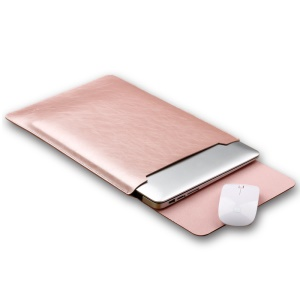 SOYAN Crazy Horse Leather Sleeve Case with Mouse Pad for 13-inch MacBook Air/Pro - Rose Gold