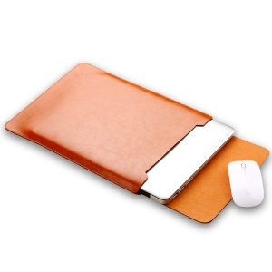 SOYAN Leather Pouch Case with Mouse Pad for MacBook 12-inch with Retina Display (2015) - Brown