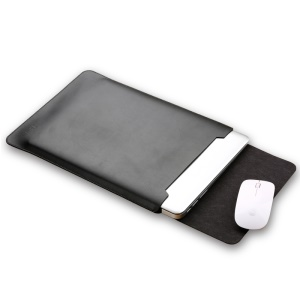 SOYAN PU Leather Pouch Case and Mouse Pad 2-in-1 for MacBook Air/Pro 13.3-inch - Black