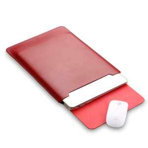 SOYAN PU Leather Pouch Protective Case and Mouse Pad 2-in-1 for MacBook Air/Pro 13.3-inch - Red