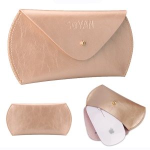 SOYAN PU Leather Mouse Pouch Sleeve Case Bag for Apple Magic Mouse - Gold Color