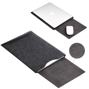 SOYAN Felt PU Leather Pouch Case with Mouse Pad for Macbook Air 13.3 Inch / Pro 13.3 Inch - Black