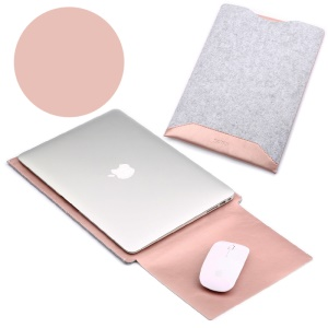 SOYAN Felt PU Leather Pouch Bag with Mouse Pad for Macbook Air 13.3 Inch / Pro 13.3 Inch - Rose Gold
