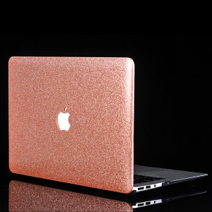 Glittery Leather Coated Plastic Cover for MacBook Air 13.3-inch A1369 A1466 - Rose Gold