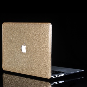 Glittery Leather Coated Snap-on Hard Shell for MacBook Air 13.3-inch A1369 A1466 - Gold