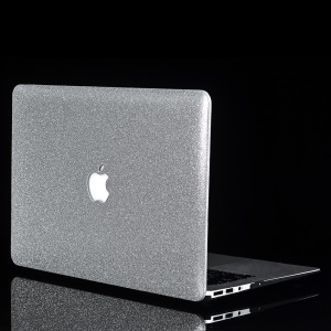 Glittery PU Leather Coated Plastic Case for MacBook Air 11.6-inch A1370 A1465 - Silver