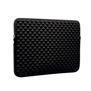 Stereo Grid PU Leather Soft Plush Sleeve Bag for Macbook Air 11.6-inch - Black