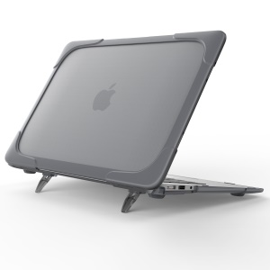 2-Piece Kickstand Plastic TPU Full Protection Case for MacBook Air 11.6-inch - Grey
