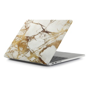 Patterned Hard Protective Cover for Macbook Pro 15.4-inch 2016 with Touch Bar (A1707) - Marble Texture / Gold