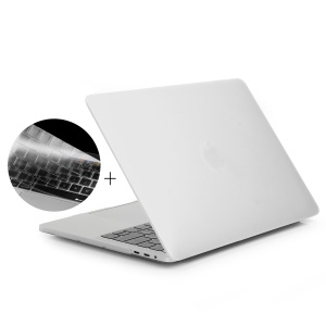 HAT PRINCE Matte PC Cover + EU Version Soft TPU Keyboard Film for MacBook Pro 13.3-inch (2016) A1706 with Touch Bar - White